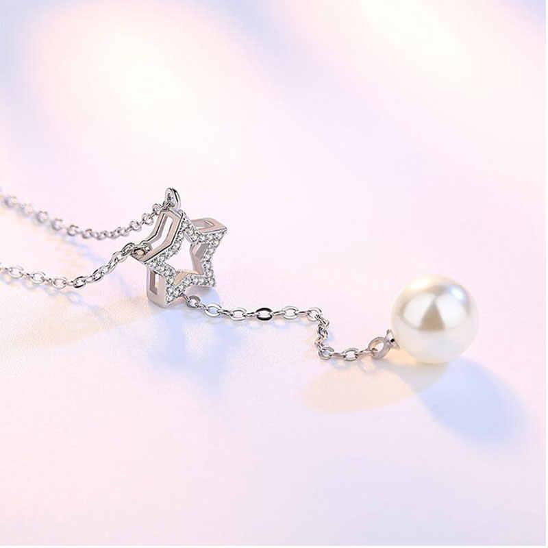 Anenjery новая простая Мода 925 стерлингового серебра крест кристаллическая звезда кулон с искусственным жемчугом Chian Neclace для женщин чокер S-N05