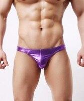 Men Erotic G String Underwear Sexy Stretchy Low Waist Thongs 4 Colors Shiny Metallic Fetish Sheath