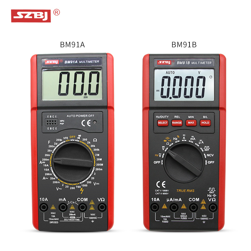SZBJ high precision digital multimeter BM91A / BM91B AC/DC backlight automatic range capacitance meterSZBJ high precision digital multimeter BM91A / BM91B AC/DC backlight automatic range capacitance meter