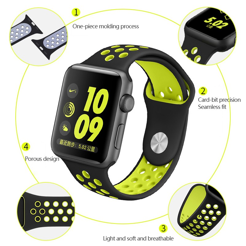 for Apple Watch Replacement Watch Strap for Apple Watch Bands Series 3 2 1 for Apple Watch Strap Rubber iwatch band 3 2 1 in Watchbands from Watches
