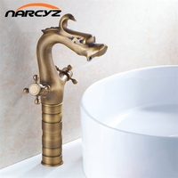Fashion Style Bathroom Dragon Mixer Taps Antique Brass Finished Bathroom Basin Dual Holder Faucet Crane Faucet XT911