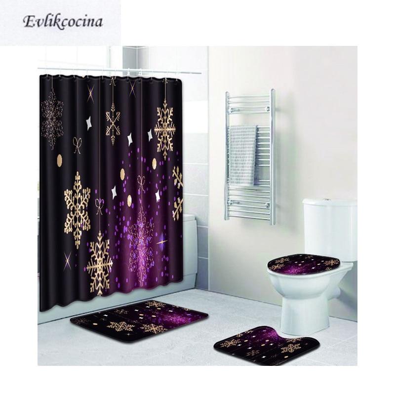 Free Shipping 4pcs Gold Snowflake Banyo Paspas Bathroom Bath Mat Set Purple Tapete Banheiro Washable Toilet Rugs Alfombra Bano