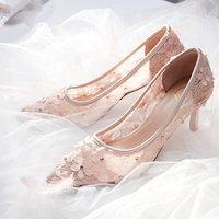 Fairy gauze pink wedding shoes women 2019 new lace openwork high heeled dress shoes bride's fine heeled bridesmaids shoes