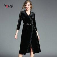 Yzeqi Women Spring Autumn V Neck Velvet Dress Elegant Sexy Pleuche Lace Pearl Belted Slim Balck Xl Plus Size Pailetten Dress
