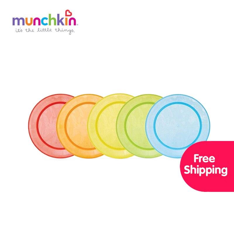 Munchkin Multi Baby Plates 5pk free shipping BPA Free Kid Infant Baby Feeding plates Silicone Feeding Food Plate