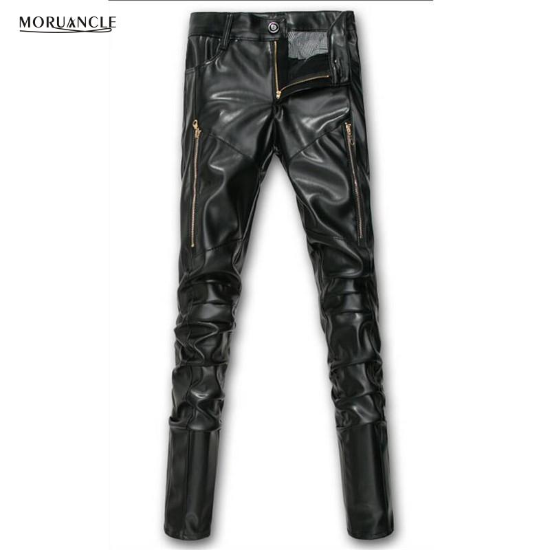 MORUANCLE New Winter Mens Faux Leather Pants With Gold Zipper Warm Biker PU Trousers Joggers For Man Boys Fleeced