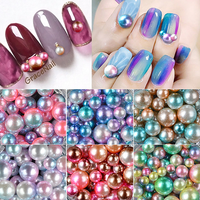 ELECOOL 1 Pc Cute NEW Tiny 3D 3/4/5/6mm Nail Art Decorations Mix Size Round Ball Micro Pearl strass nail art Rhinestone