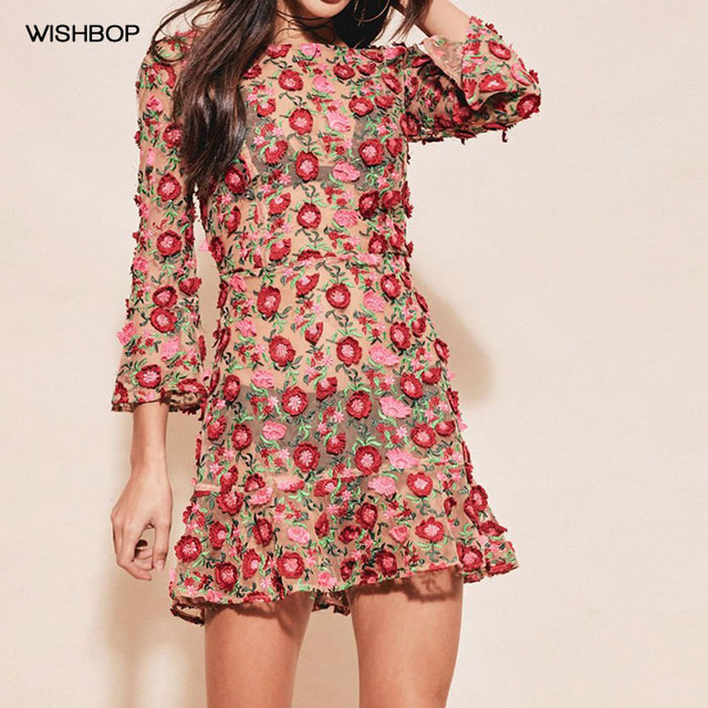 WISHBOP 2017 NEW Romantic Love AMELIA SWING 3D Flowers Embroidered Tulle  Mini dress with 3 4 sleeves Ruffles hem 3535df62857f