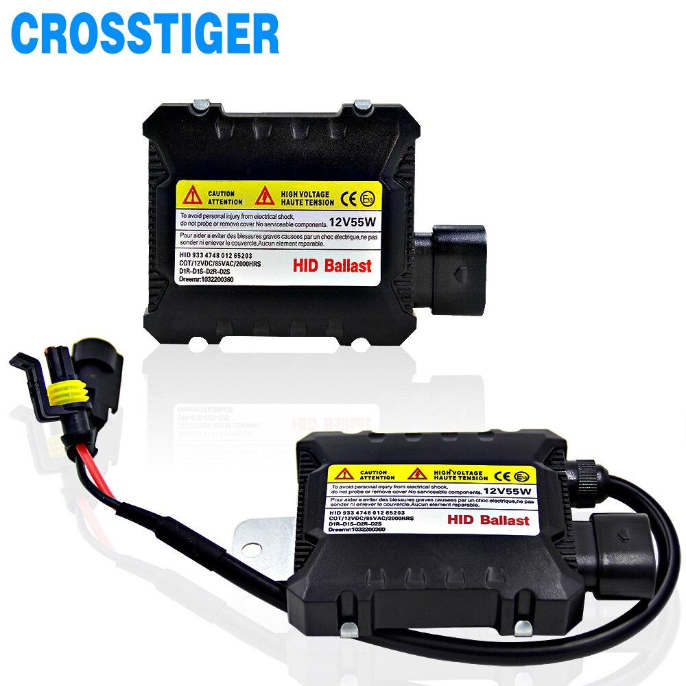 2 piezas Slim HID 55 W Xenon Replacement Kit Digital electrónico lastre de la conversión Unidad de encendido bloque para automóviles 12 V