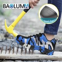 Безопасность унисекс модная обувь мужские лёгкие дышащие стальной носок Рабочая обувь анти-размывание строительство уличные кроссовки 35-48