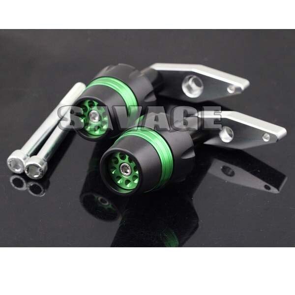 For KAWASAKI ER-6F 2012-2014 New Design Motorcycle Frame Sliders Crash Protector Falling Protection Green