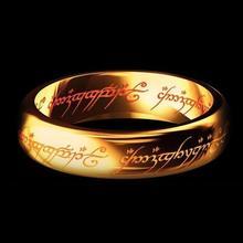 Обручальные кольца LOVER', волшебная буква, Властелин одного кольца, черное серебро золото, титановое кольцо из нержавеющей стали для мужчин и женщин wj229