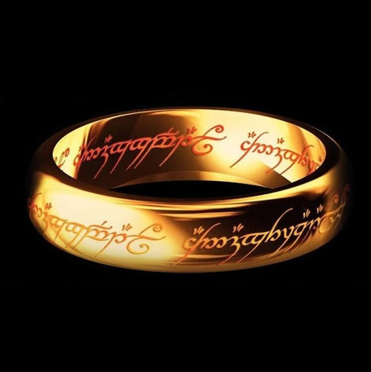 LOVER' wedding rings Magic Letter The Lord of One Ring Black Silver Gold Titanium Stainless Steel Ring for Men Women wj229