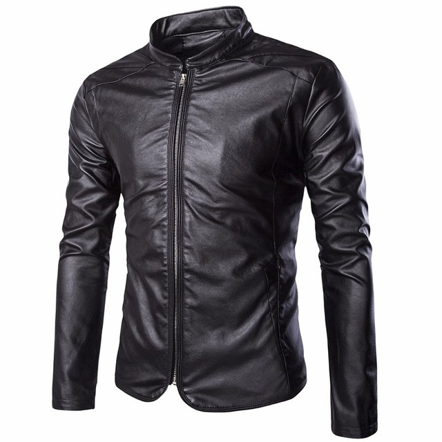 Men Plus Size Leather Jacket 2017 Man Clothes Fashion Brand Clothing Spring PU Leather Coat Stand Collar Casual Slim Overcoat