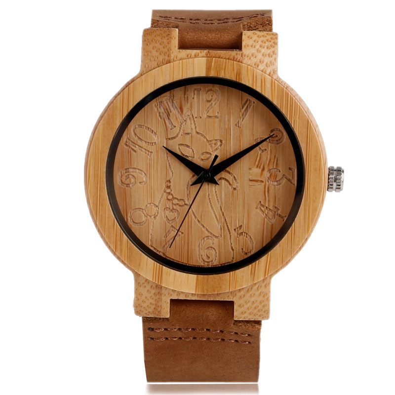 Fashion Natural Bamboo Men Women Quartz Watch Cat Design Dial Genuine Leather Watchband Strap Handmade Wood Casual Female Watch romanson rm 6a31l lw wh