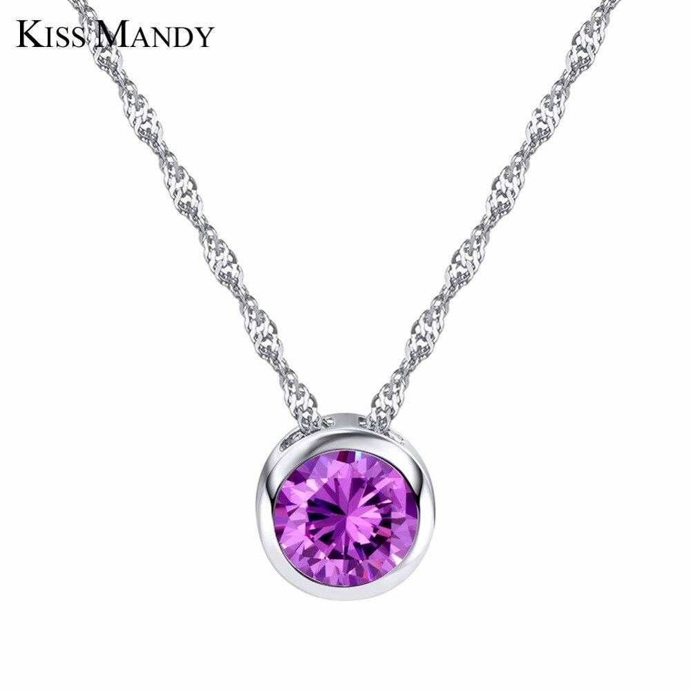 KISS MANDY Nobleness Pendant Necklaces for Woman Purple Clear Cubic Zircon Stone 2 Color HN74