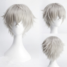 Ensemble Stars Oogami Koga 30cm Short Straight Cosplay Wigs for Man Boys Anime Costume Party Heat Resistant Synthetic Wig Grey