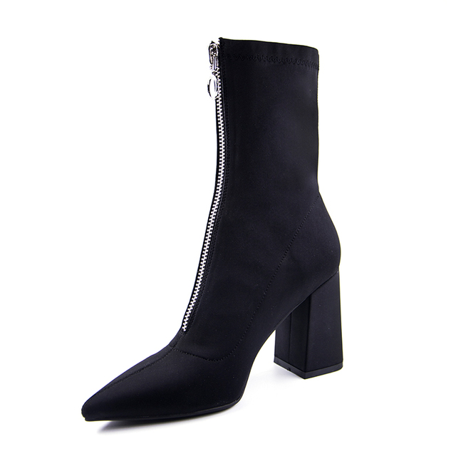 2018 Autumn New Lycra Women Boots Pointed Toe Square Heel Shoes Woman Fashion Bota Feminina Ankle boots Black purple rose red 4