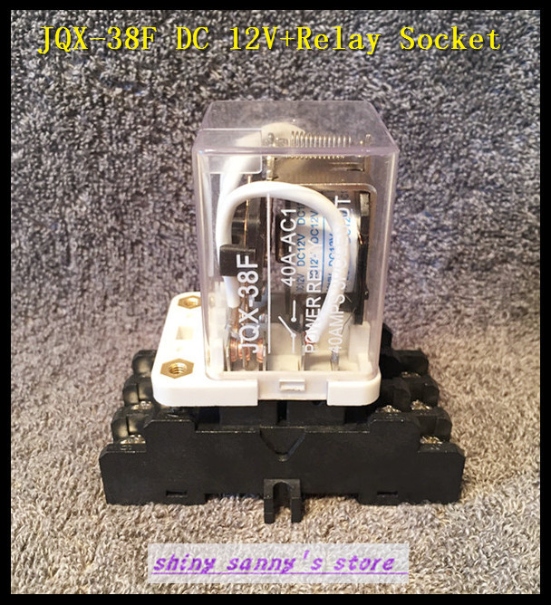 цена на 1 set JQX-38F DC 12V 40A 11 Pin 3PDT Coil Power Relay With Socket Brand New