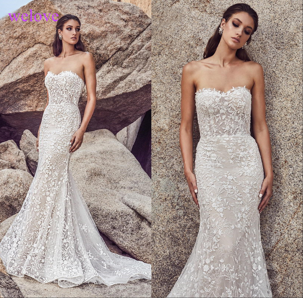 Robe De Mariee Long Train Lace Mermaid Wedding Dresses 2019 New Custom Made Appliques Fishtail Wedding Gown Vestido De Noiva
