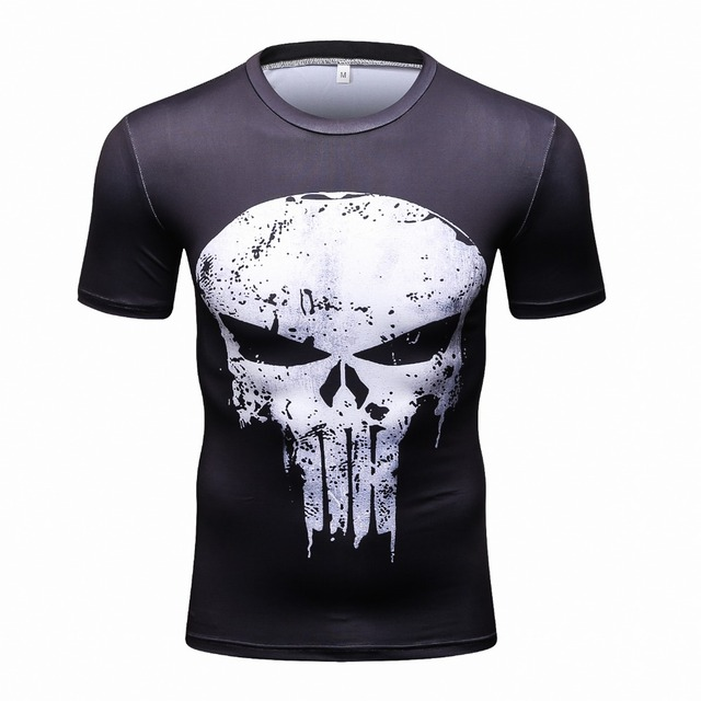 דחיסת חולצות גברים 3D מודפס חולצות קצר שרוול קוספליי כושר גוף בניין זכר קרוספיט חולצות פאנק גולגולת שלד