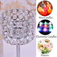3pcs Silver Gold Plated Candlestick Crystal Candelabra Centerpiece Wedding Decoration Romantic Center Table Candlesticks