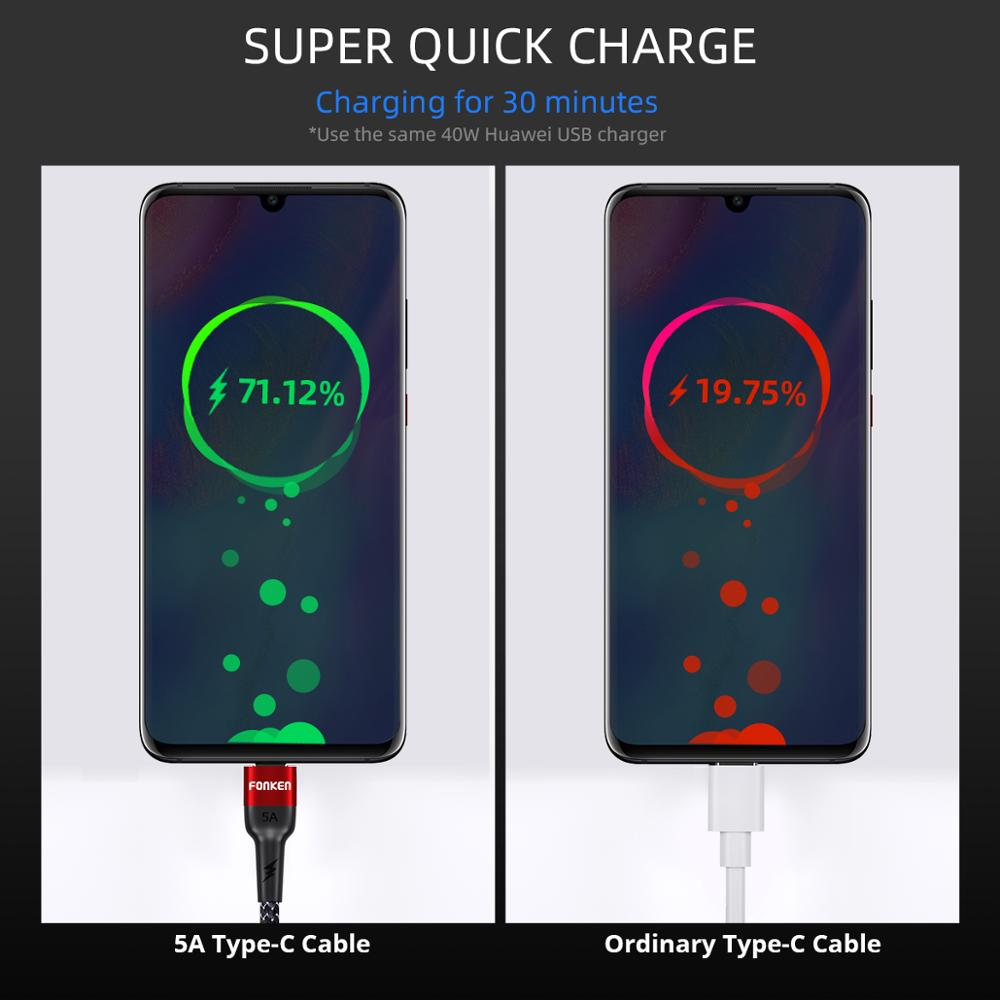 FONKEN 5A USB Type C Cable 40W Super Charge USB C Wire for HUAWEI P30 MATE 20 PRO Fast Charger Type C 1m 2m Android Phone Cables in Mobile Phone Cables from Cellphones Telecommunications