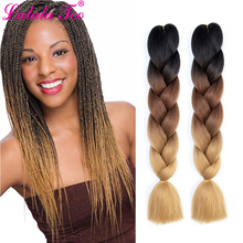 Synthetic Ombre Jumbo Braiding Hair Extensions 24(60cm) 100g/pc Three/Two Tone Heat Resistant Colored Crochet Braids
