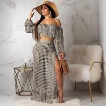 цены на 2019 Ladies Slash Neck Two Piece Knit Sets Women Tassels Crop Top And Skirt 2 Piece Set Sexy Summer Crochet Suits  в интернет-магазинах