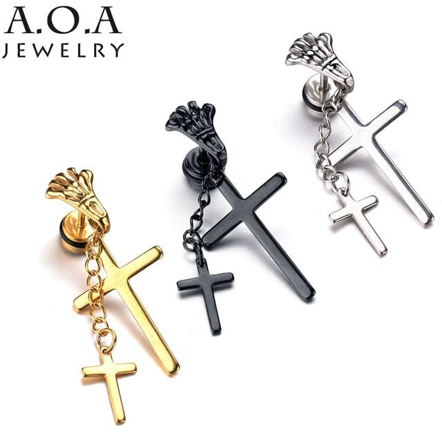 Personalize Stainless Steel Chain Earrings Steampunk Hand Bone Cross Drop Cool Double