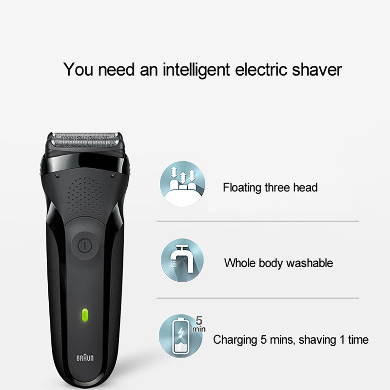 Braun Electric Shaver Floating 3 Cutters Electric Razor IPX7 Waterproof for Men Safety Rechargeable Reciprocating Shaving 301S - 4