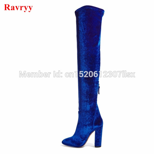 Spring autumn thick heel women boots high heels blue red gray velvet boots for woman over the knee high Stretch long boots shoes lynskey fashion black blue red women thigh high boots high heel velvet over the knee boots stretch boots long shoes
