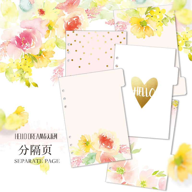 Dokibook A5 A6 Spiral Notebook lepas Daun Pemisah Halaman Hello Dream Flowers 5 lembar Terpisah Pertandingan filofax Kikkik