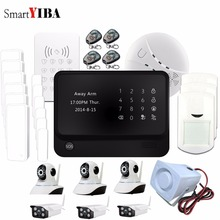 SmartYIBA G90B Plus WIFI GSM Alarm Outdoor Indoor HD Wifi IP Camera Android IOS App Smoke Detector RFID Keypad Siren Horn Alarm