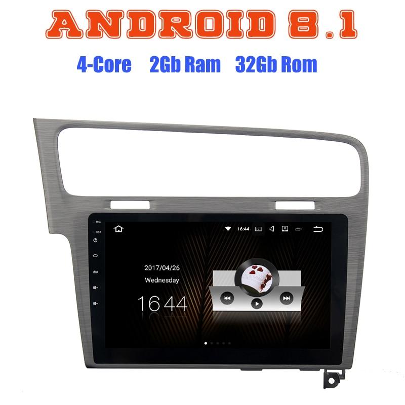 Android 8.1 Quad Core autoradio GPS multimédia pour VW GOLF 7 2013 2014 2015 2016 2017 avec canbus usb 2 + 16G wifi 4G bluetooth