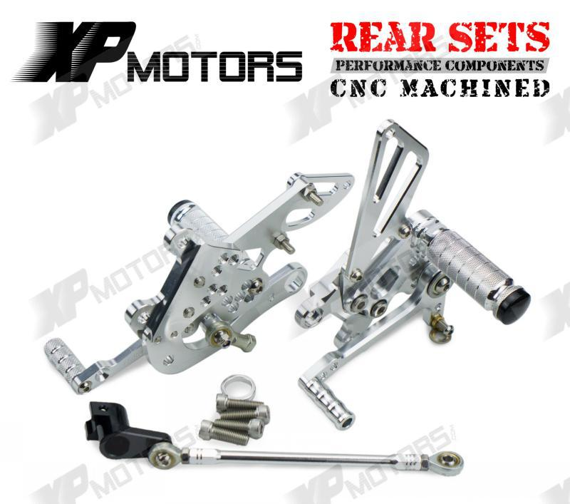 CNC Silver Racing Adjustable Rearset Rear Sets Foot pegs For Aprilia RSV4 R 2009 2010 2011 2012 2013 2014