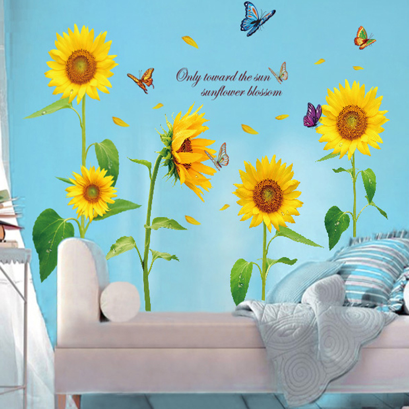 Sunflower wall stickers sofa tv wall stickers fresh child real romantic decoration in Wall Stickers from Home Garden