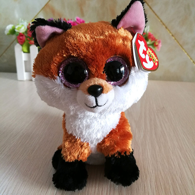 Slick Fox brown fox TY BEANIE BOOS 1PC 15CM BIG EYE Plush Toys Stuffed  animals KIDS TOYS VALENTINE GIFT children toy decor toy 29df13da5086