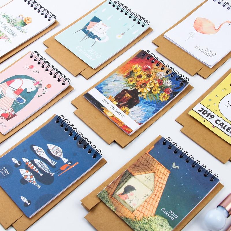 2019 Cartoon Pig Kraft Paper Calendar Diy Desktop Calendar Agenda Organizer Daily Schedule Planner 2018.08~2019.12 Calendar Office & School Supplies