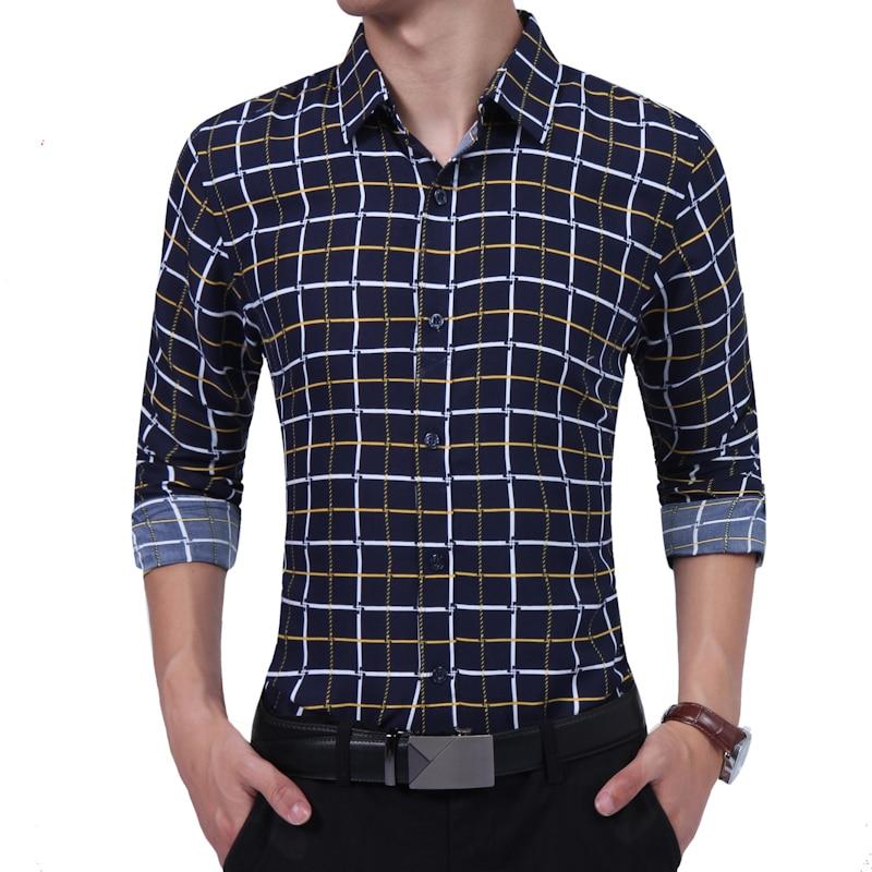 Brand 2018 Fashion Male Shirt Long-Sleeves High quality Cotton Hit the color plaid Mens Dress Shirts Slim Men Shirt XXL