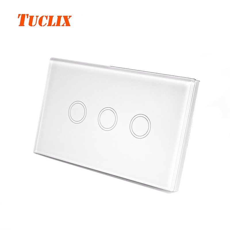 TUCLIX US Standard 3 Gang 1 Way Remote Control Touch Switch Remote Wall Light Switch With Cystal Glass Panel white black