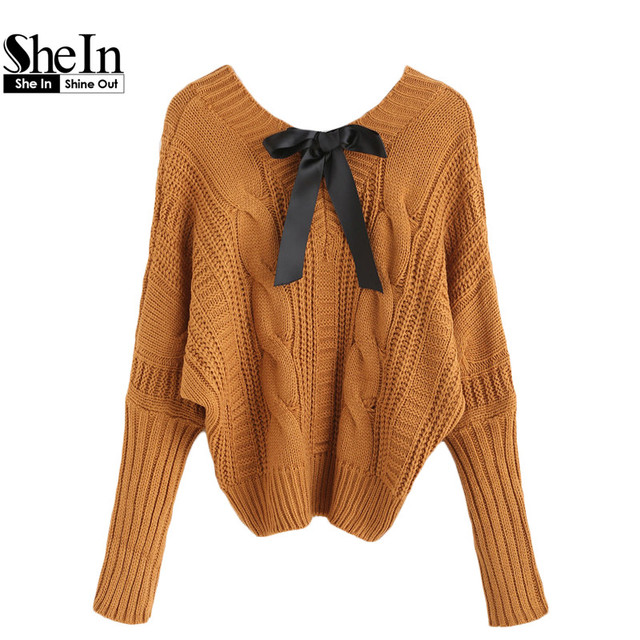 SheIn Womens Fall Fashion Knitwear Sweaters For Woman 2016 Khaki Pullover Jumpers V Neck Batwing Bow Tie Cable Knitted Sweater