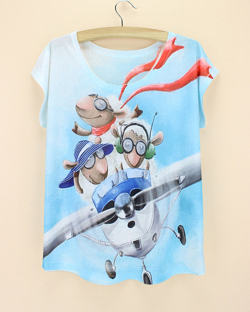 99fdb087ec Popular cartoon character print culture t-shirt for girls   women plus size  top tees