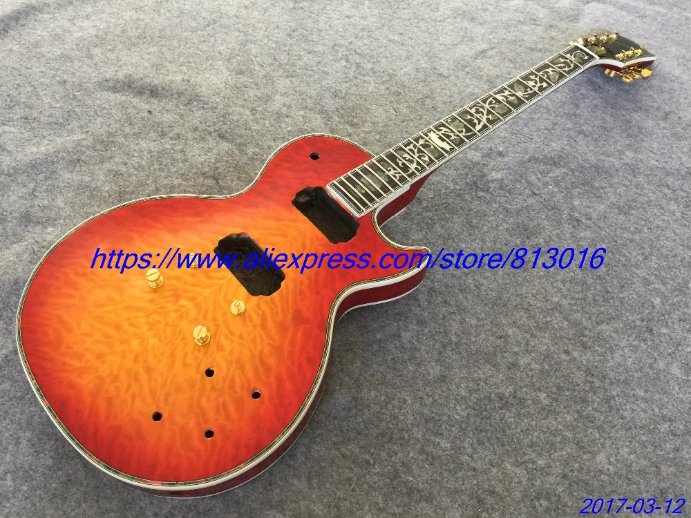 HOT! electric guitar LP custom shop,cherry burst,quilt flame body top and back abalone binding,ebony fingerboard, free shipping! new brand custom shop 1960 bourbon burst lp guitar deluxe completed musical instruments chinese electric guitar free shipping