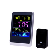 Cheaper Colorful LED Wireless Weather Station With Forecast Temperature Humidity EU Plug Alarm and Snooze Thermometer Hygrometer Clock