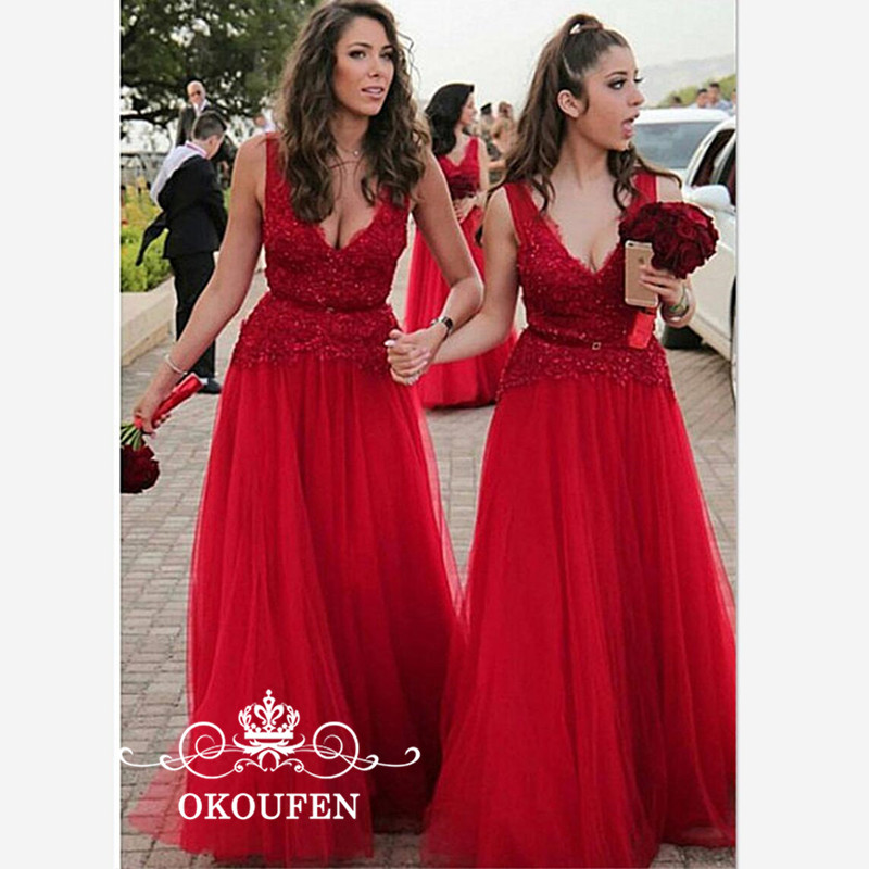Red Tulle A Line Long   Bridesmaid     Dresses   2019 Sexy Plunging Neck Appliques Lace Wedding Guest Maid Of Honor   Dress   For Women
