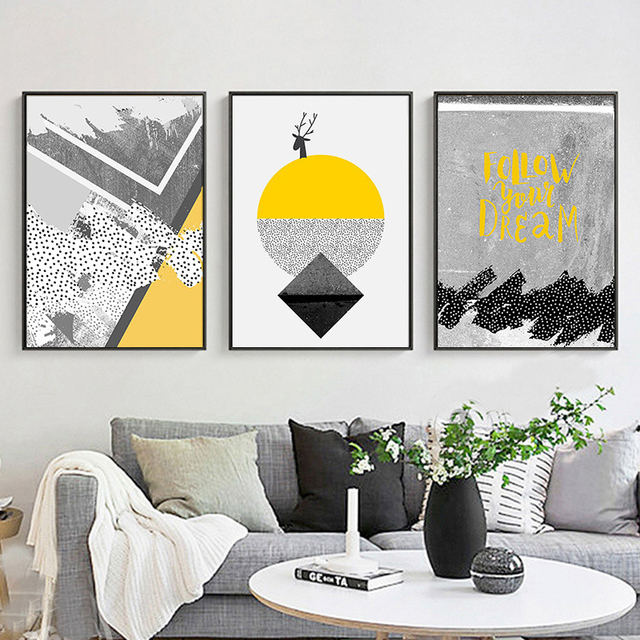 Haochu modern black white yellow colors geometric sun landscape abstract canvas painting wall poster for living