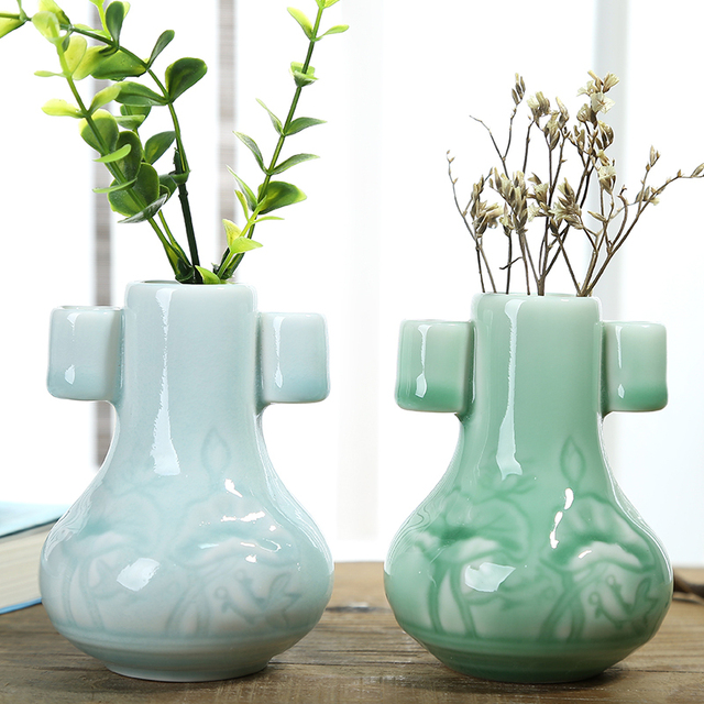 Antique Chinese Celadon Porcelain Double Ears Vase Decorative