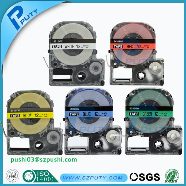 Prix pour Shiping libre coût 5PK mixte couleurs 12mm étiquette ruban LC-4WBN, LC-4WLN, LC-4LBP, LC-4GBP et LC-4YBP