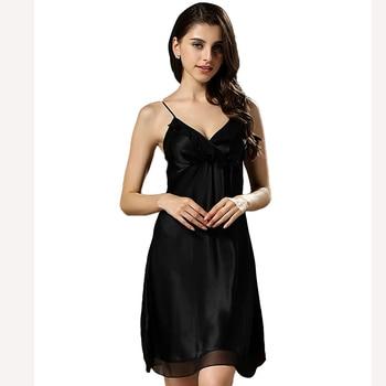 100% Natural Silk 2016 New Sexy Elegant Sleepwear Night Dress Female Temptation Sleepwear Women's Summer Brand Nightgown iT390